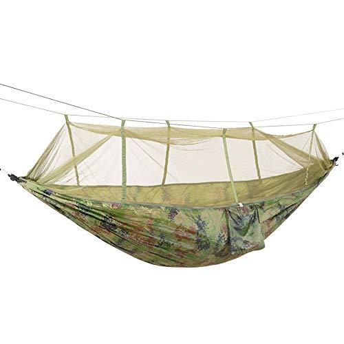 Hamaca con Mosquitera Hamacas Portátiles Ligeras de Nylon Paracaídas para Senderismo Viajes Mochilero Playa Equipo de Jardín Incluye Cuerda y Ganchos(Camuflaje)