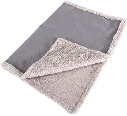 Happilax Flauschige Hundedecke für Auto & Couch, waschbare Hundematte für unterwegs, Grau, L