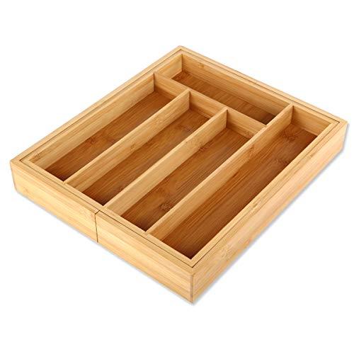 Gräfenstayn® Besteckkasten aus Bambus für Küchen-Schubladen (33,5 x 29-45 x 5 cm), 5-7 Fächer und variabel ausziehbar, als Besteck-Einsatz oder Küchen-Organizer