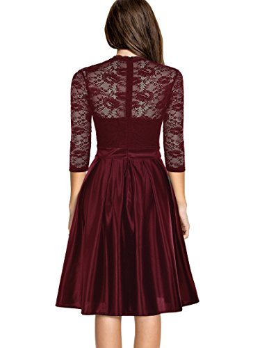 Mmondschein Women Vintage 1930s Style 3/4 Sleeve Black Lace A-line Party Dress Darkred L