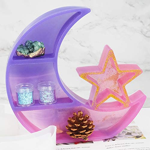 AIUII Resin Silikonform Crescent Moon Tray Harzform Moon Star Decor Crystal Display Tray Formen Werkzeuge