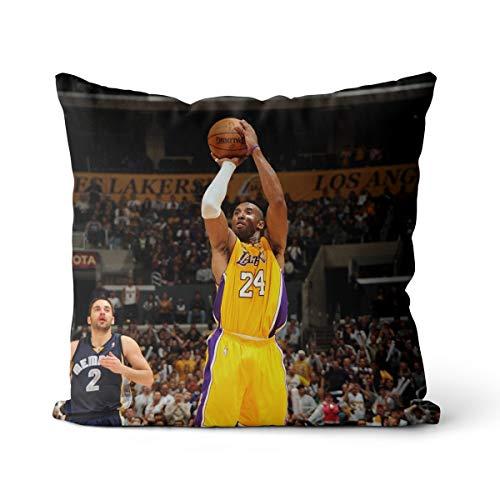 Kobe Bryant - Cojín para silla, diseño de baloncesto, ideal para decoración de salón, algodón y lino, cuadrado, OR1631, 55 x 55 cm