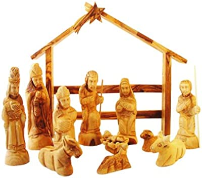 Olive Wood Nativity Set with Modern Creche