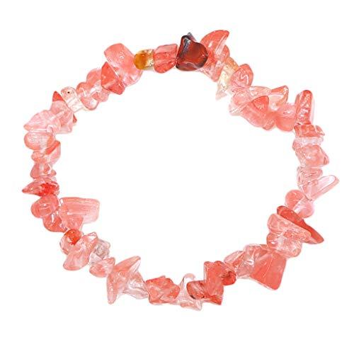 yotijar Ladies Bracelet Made of Natural Stone, Crystal Pebbles Bracelets Irregular Shape - Watermelon Red