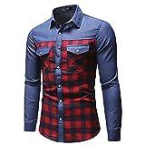 HDDFG Camisa a cuadros de algodón para hombre con costura informal, camisa vaquera de manga larga suelta para hombre, de un solo pecho (Color : Red, Size : 3XL code)