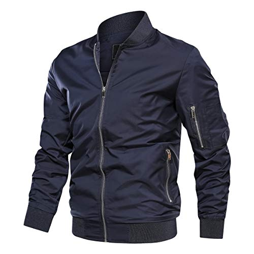 TACVASEN Men's Jacket-Lightweight Thin Sportwear Bomber Windbreaker Coat, Navy L