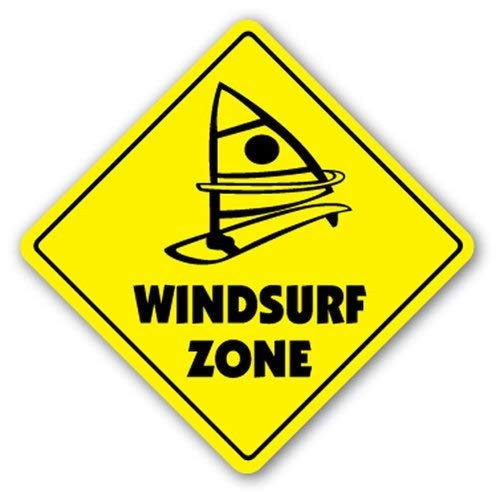 WallAdorn Windsurf Zone New Surf Windsurf Segeleisen Poster Blechschild Vintage Wall Decor für Café, Bar, Pub Home 20,3 x 20,3 cm