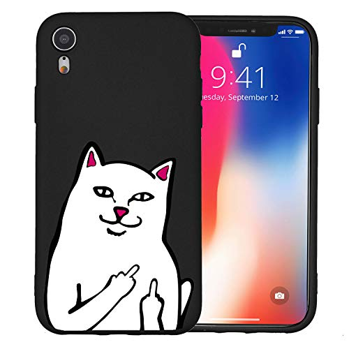JOYLAND Black Case for iPhone Xs/iPhone X Case Funny Cat Pattern Black Phone Cover Flexible Soft TPU Bumper Case for iPhone Xs/iPhone X