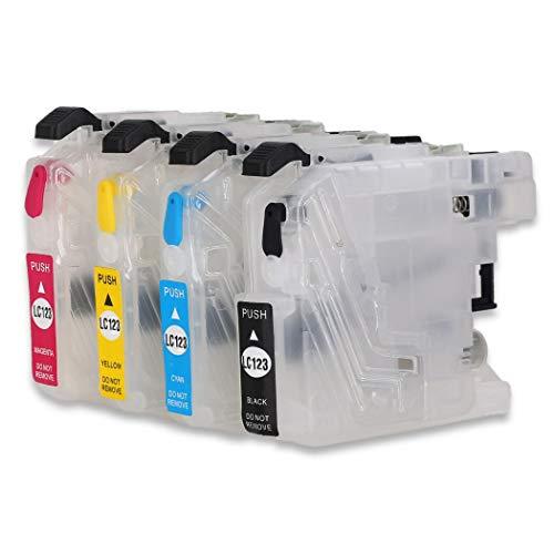 Juego de cartuchos de tinta recargables vacíos LC123,compatibles con impresoras Brother MFC-J6920DW,MFC-J6520DW,DCP-J132W,DCP-J4110DW,MFC-J4510DW,MFC-J6720DW,MFC-J470DW,MFC-J4610DW y DCP-J152W