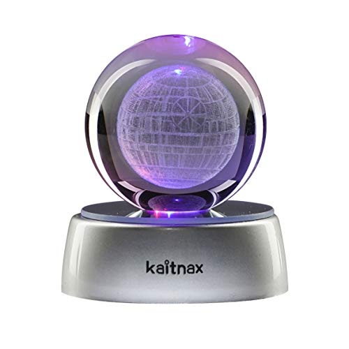 Kaitnax 3D Laser Etched Crystal Ball(50mm) Lamp with LED Base (Death Star)