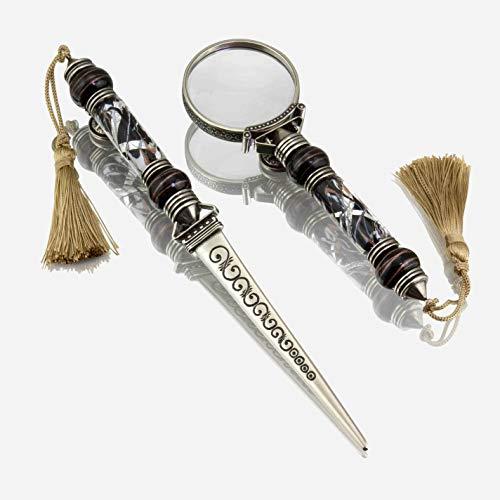 Abrecartas y lente con hoja de plata y perlas de cristal de Murano (negro)
