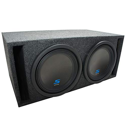 """Universal Car Stereo Slotted S Port Dual 12"""" Alpine S-W12D2 Type S Car Audio Subwoofers Custom Sub Box Enclosure Package New"""