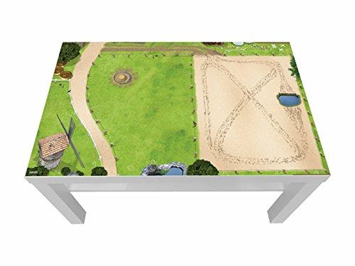 Pferdekoppel/Springplatz Möbelfolie/Aufkleber - LCK09 - passgenau für den Lack Couchtisch (90 x 55 cm) von IKEA - In wenigen Minuten zum einzigartigen Spieltisch für Kinder! (Möbel Nicht inklusive)