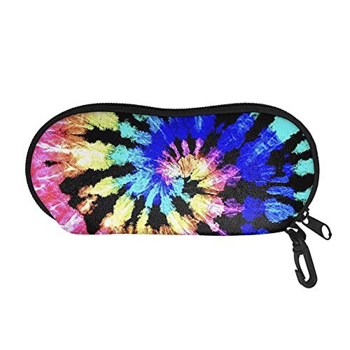 Renewold Funda para gafas de tie-dye suave, bolsa de viaje portátil con cremallera, estuche para gafas con clip de regalo para mujeres, hombres, niños y niñas