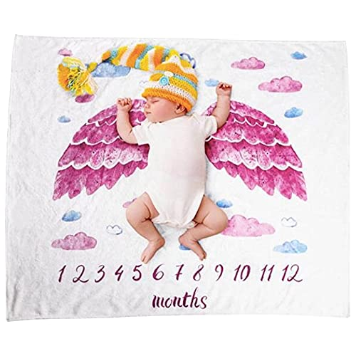 [M.Rodriguez] 寝相アート おくるみ ブランケット 月齢フォト マイルストーン ベビー毛布 出産祝い 赤ちゃん 新生児 (天使の羽(ピンク))