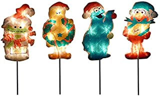 ProductWorks 8-Inch Pre-Lit Sesame Street Christmas Pathway Markers (Set of 4)