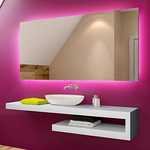 Badspiegel 100x70cm mit LED Beleuchtung - Wählen Sie Zubehör - Individuell Nach Maß - Beleuchtet Wandspiegel Lichtspiegel Badezimmerspiegel - LED Farbe zu Wählen Kaltweiß/Warmweiß L58