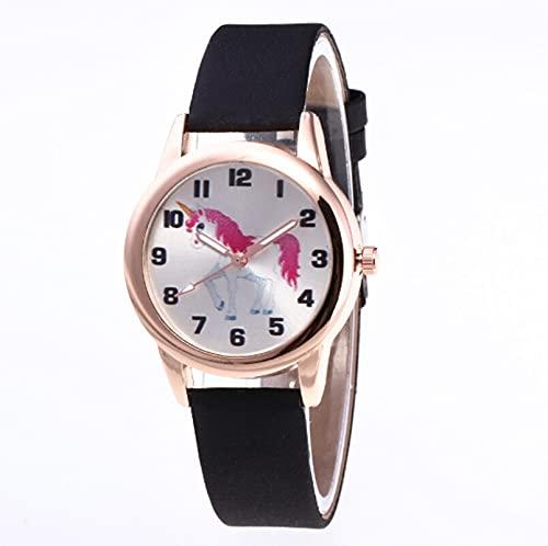 Msltely Relojes de Pulsera Niños Reloj Moda Lindo Dibujos Animados Unicornio Cuero Correa de Pulsera Reloj clásico Digital Muchacha Reloj Reloj niño Cuarzo Reloj Regalo (Color : Black)