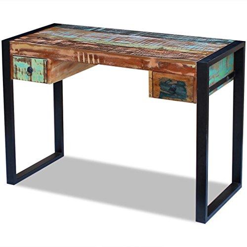 SENLUOWX Bureau en bois massif vieilli. Matériau : bois massif vieilli + cadre en acier bureau.