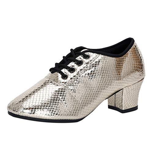 Moginp Tanzschuhe Standard Latein Damen Geschlossen Zehen Blockabsatz High Heel Glitzer Salsa Tango Ballsaal Latin Pailletten Tanzschuhe (Gold, Numeric_40)