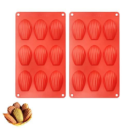 Dowoa Moldes para Hornear Madeleine 2 moldes de Silicona antiadherentes para Hornear Moldes para Hornear de 9 cavidades para Pasteles, Chocolates, Galletas, Molde para Tartas de Vieira Madeleine