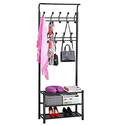 White Rack Hanger Coat Bag and Shoes Entryway Organizer