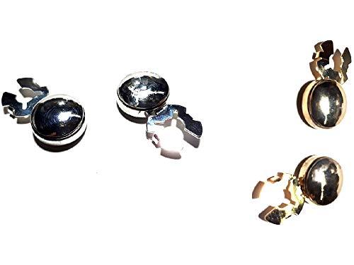 artesanal 1 par de cubrebotones de 15 mm abombado con diamante a elegir color metal para camisas mujer o puños joyas hombre de regalo llavero