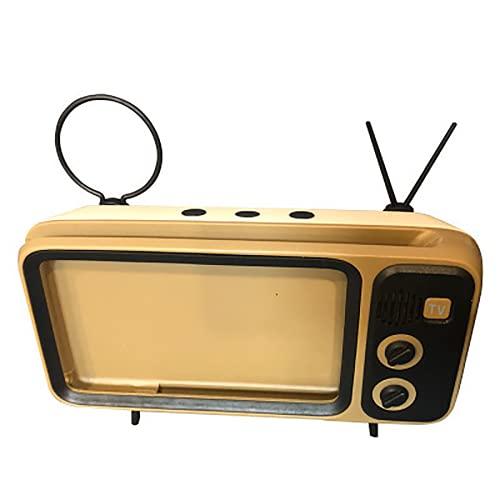N\C Soporte para teléfono, soporte para teléfono de TV, soporte para teléfono de escritorio con pie de soporte, antena y anillo de extracción, soporte para teléfono móvil de TV retro