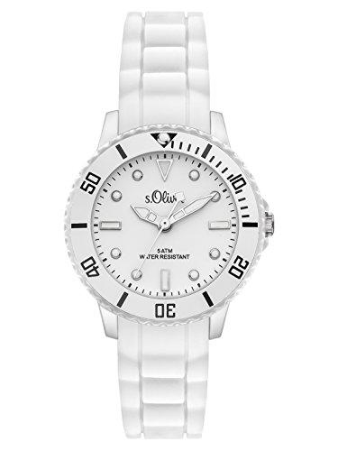 s.Oliver Time Unisex Quarz Uhr mit Silikon Armband, Größe XS für Kinder- bzw. Damen, weiß