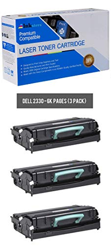 Inksters Compatible Black Toner Cartridge Replacement for Dell 2330 2330D 2330DN 2350 2350D 2350DN - 330-2666 330-2667 - 3 Pack