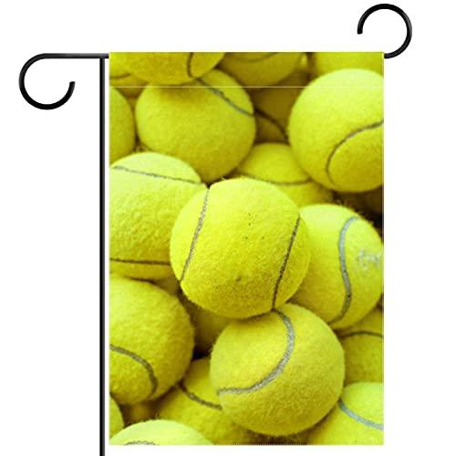 Bienvenida Flor Guirnalda Jardín Bandera Patio Doble Cara Pelota de tenis amarillo Banderas florales de jardín para patio césped hogar decoración exterior primavera