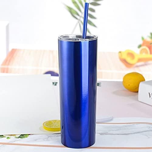 Xyxiaolun Taza de café de 20 oz con Tapa Taza Recta Frasco de vacío de Acero Inoxidable 304 Taza de Coche Taza de Adelgazamiento Tazas de café Tazas de café(Azul Claro 1)