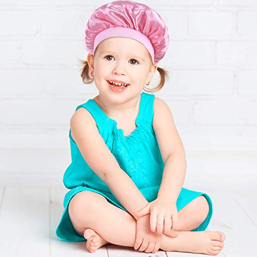 3 Pieces Kids Satin Bonnets Night Sleep Caps Wide Band Sleeping Hats for Kids Toddler Children Baby (Color Set 1)