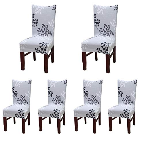 Spandex Stretch Chair Protector Removable Washable Dining Chair Slipcover With Printed Pattern For Home ,Ceremony,Banquet Wedding Party 6PC