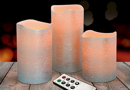 Eternal Living Flameless Candles Flickering LED with Remote Control Real Wax with Silver Finish   Realistic Flame, Set of 3