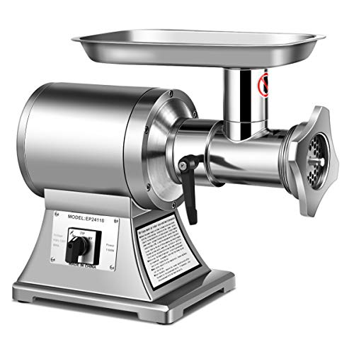 Tangkula Electric Meat Grinder, 1.5HP 1100W Meat Mincer, Stainless Steel Food Grinder Maker with 2 Cutting Plates & 2 Cutting Blades(Silver)