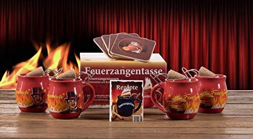Feuerzangentasse 4er-Set, Rot/Rühmann (mit Rum) - für Feuerzangenbowle