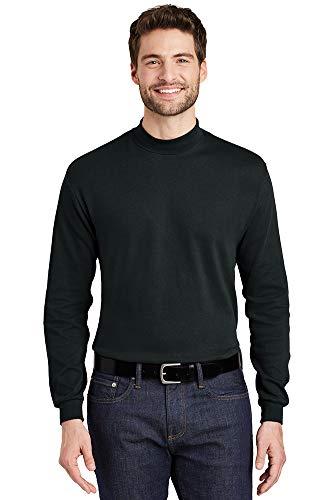Joe's USA - Men's Interlock Knit Mock Turtleneck-L-Black