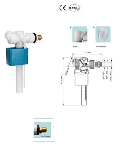 Basso rumore 1/2'entrata laterale WC valvola di riempimento.In ottone. CE UPC e approvato WRAS.