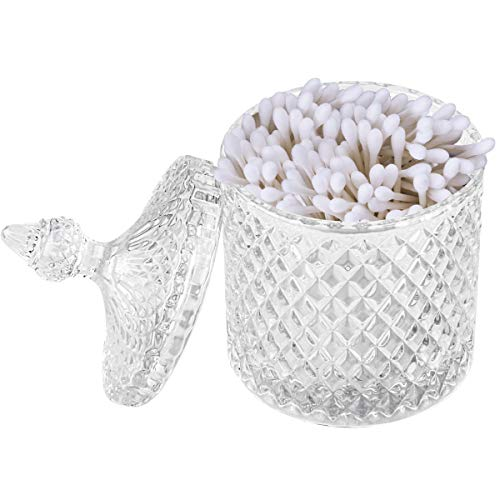 YOUDirect Apothecary Jar, 20 OZ Glass Qtip Holder with Lid, Luxurious Crystal Canister Bathroom Counter Vanity Organizer for Bath Salts/Bombs Cotton Balls/Swabs/Rounds Makeup Sponges (Clear)