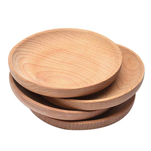 Platos para servir, bandeja redonda para servir, 1 pieza de madera maciza de 12 cm para aperitivos, fruta, plato para frutas secas, bandeja para servir de madera natural, platos de madera para pan