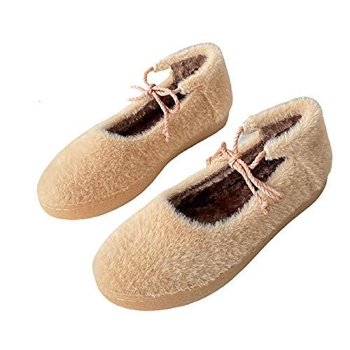 UELEGANS Memory Foam Zapatillas De Casa para Mujer Felpa Pantuflas Mocasines Calentar Invierno Tweed Zapatos para Interior Exterior Suela Tendinosa,Apricot,40