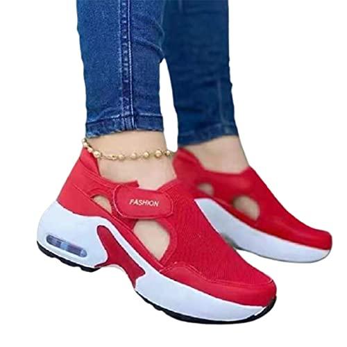 lefeindgdi Zapatos deportivos ligeros de tenis, para mujer, ortopédicos, suela acolchada de aire, zapatillas tejidas voladoras para parejas, zapatos casuales