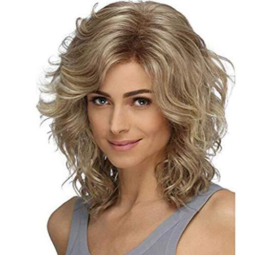 LQ&XL Perruques Courtes Cheveux Naturels Bouclés Ondulés Synthétique Résistant à La Chaleur Haute Qualité Comme Humains Mode Charmant Pour Femme Cosplay Halloween A/A