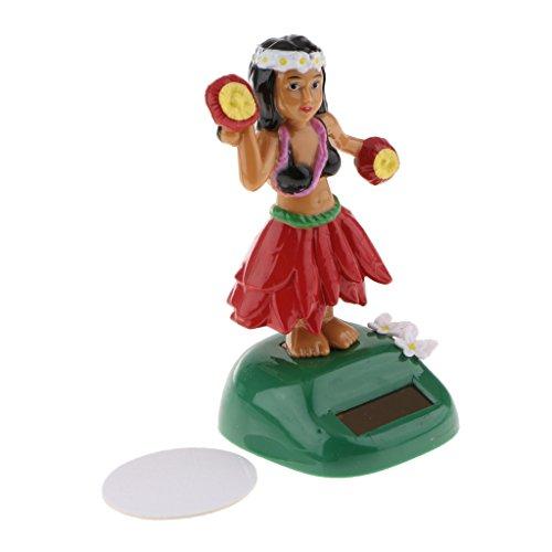 Baoblaze Solar Wackel Figur Hawaii Mädchen Tänzerin Geschenk Spielzeug - Rot