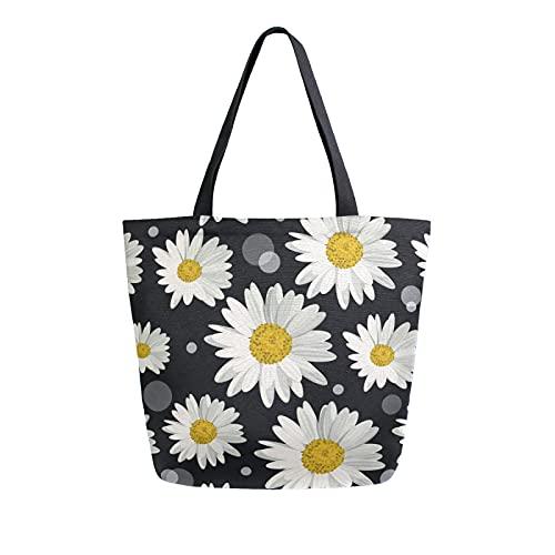 SunsetTrip - Bolsa de lona para mujer, diseño de margaritas con lunares florales y lunares