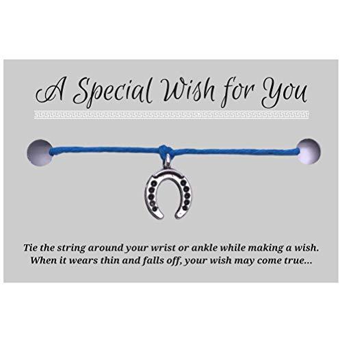Horseshoe Charm Blue Hemp Wish Bracelet - Silver Tone Charm on Printed Card - Up to 12 inches - Unisex