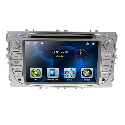 Hizpo 7 Pulgadas Autoradio Pantalla táctil Automóvil Reproductor de DVD Bluetooth SD USB Volante Espejo Enlace CAM IN Dab para Ford Focus Mondeo Galaxy S-MAX C-MAX Kuga Silver