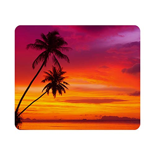 Nicokee Beautiful Sunset Gaming Mouse Pad Pink Palm Tree Beach Non-Slip Rubber Mouse Pad for Computers, Laptop, Office, Home Rectangle Personalized Mousepad 9.5 Inch x 7.9 Inch