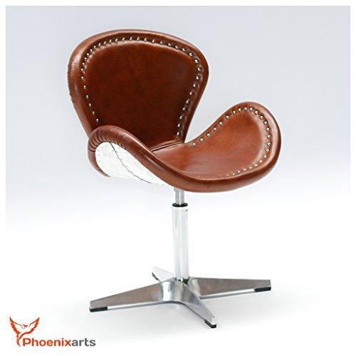 Phoenixarts Echtleder Vintage Ledersessel Braun Design Sessel Loft Drehsessel Lounge Clubsessel Möbel NEU 537 - 2